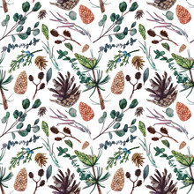 Watercolor Seamless Pattern, Consisting Of Pine, Juniper, Alder And Eucalyptus Branches And Pine Cones. Watercolor Hand Painted Botanical Pattern For Design, Print Or Background.