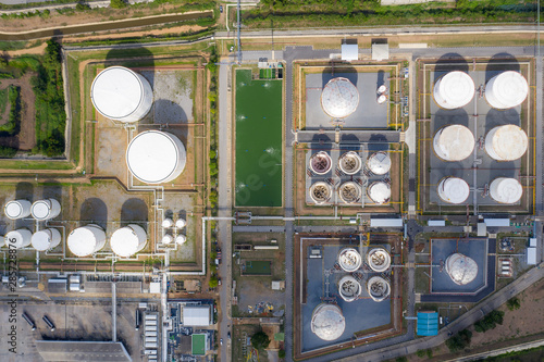 Aerial view oil terminal is industrial facility for storage of oil and petrochemical products ready for transport to further storage facilities Wallpaper Mural