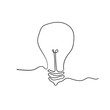 Continuous line drawing. Electric light bulb with handdrawn doodle style vector