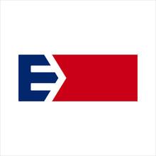 Letter E And Arrow Symbol. Vec...