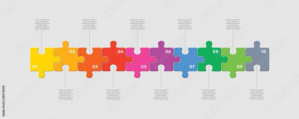 Fototapeta Ten pieces puzzle line diagram info graphic.