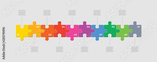 Fotografía  Ten pieces puzzle line diagram info graphic.