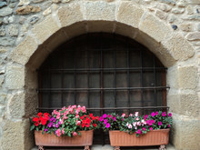 Potted Flowers In A Window Of ...
