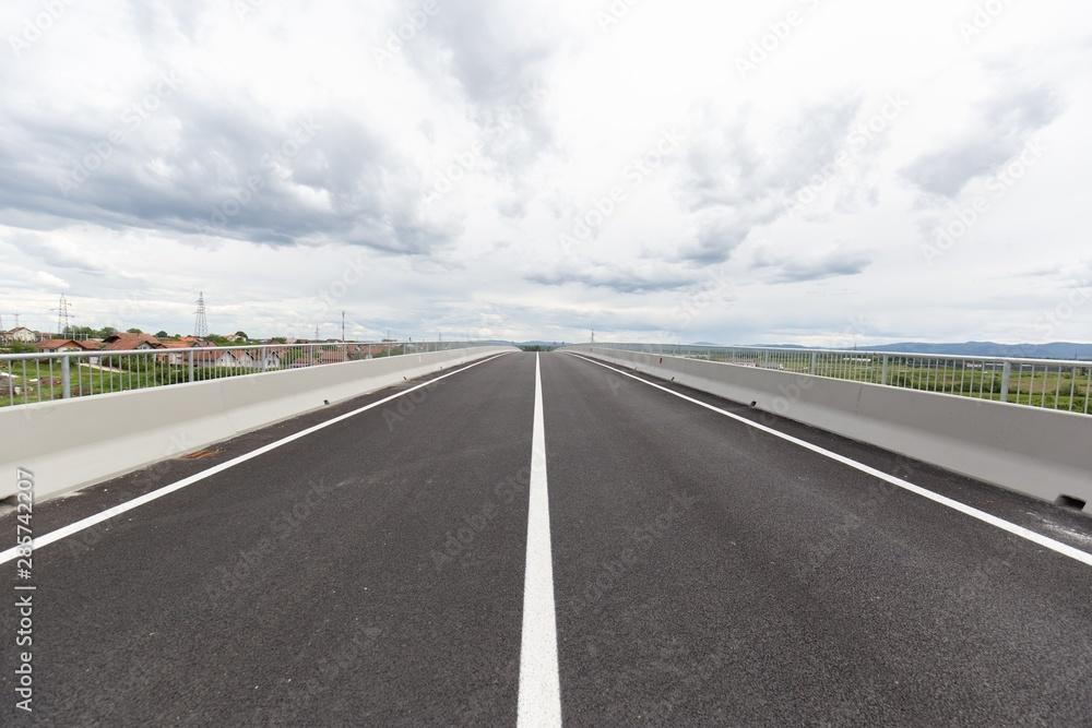 Fototapeta New recently built highway in Brcko district, Bosnia and Herzegovina