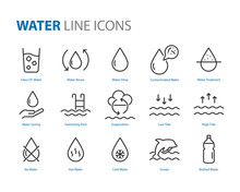 Set Of Water Icons ,such As  W...