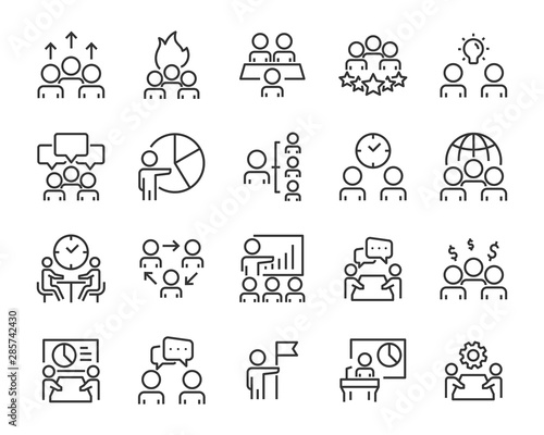 set of meeting icons, people, teamwork, discussion Canvas-taulu