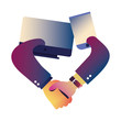 handshake icon flat design image
