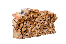 Stacked Firewood Isolated On White Background.