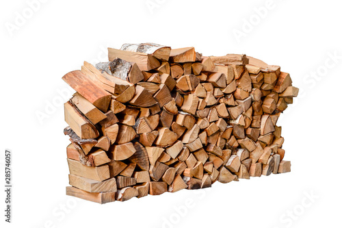 Poster Firewood texture Stacked firewood isolated on white background.