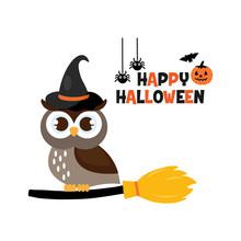 Happy Halloween Cute Owl In Ha...