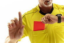 Referee Showing A Red Card To ...