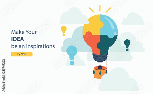 business puzzle hot air balloon idea for business success with flat design and copy space concept