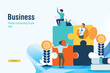 business puzzle strategy for business success with flat design and copy space concept