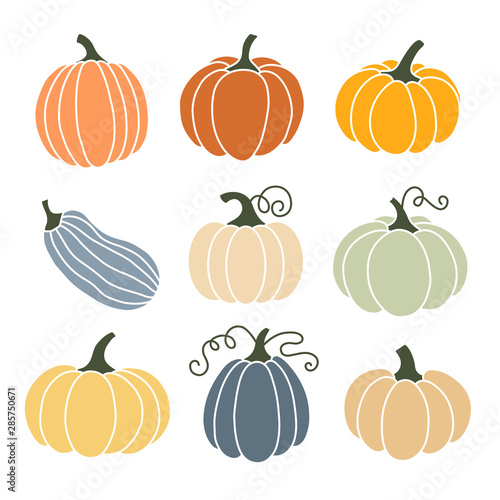 Slika na platnu A set of colored icons pumpkin.