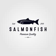 Vintage Salmon Fish Logo Seafo...