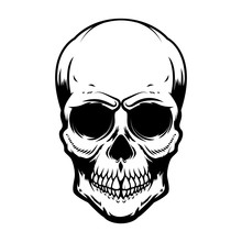 Human Skull Isolated On White Background. Design Element For Poster, Card, Banner, T Shirt, Emblem, Sign. Vector Illustration