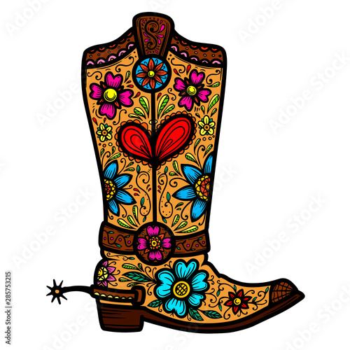Valokuvatapetti Cowboy boot with floral pattern