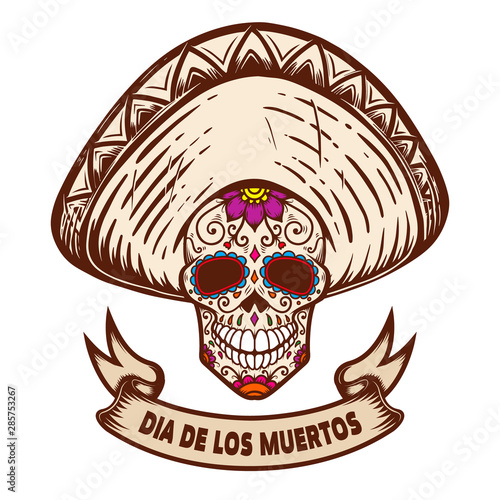 Dia de los muertos. Mexican sugar skull in sombrero. Design element for poster, logo, label, sign, card, banner. Vector illustration Fototapete
