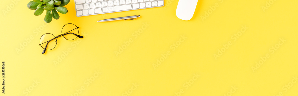 Fototapety, obrazy: Elegant workspace with business accessories on yellow background with copyspace. Office desktop. Banner