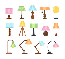 Table Lamps. Flat Icon Set. Light Fixtures. Home & Office Lighting. Interior Design Elements. Vector Illustration