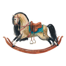 Vintage Watercolor Rocking Horse On A White Background