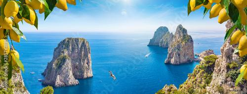 Panoramic collage with different view of Faraglioni Rocks near Capri Island, Ita Canvas Print