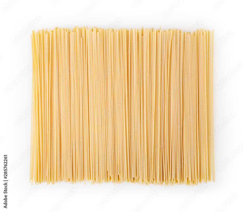 Fototapeta Uncooked spaghetti isolated on white background with clipping path