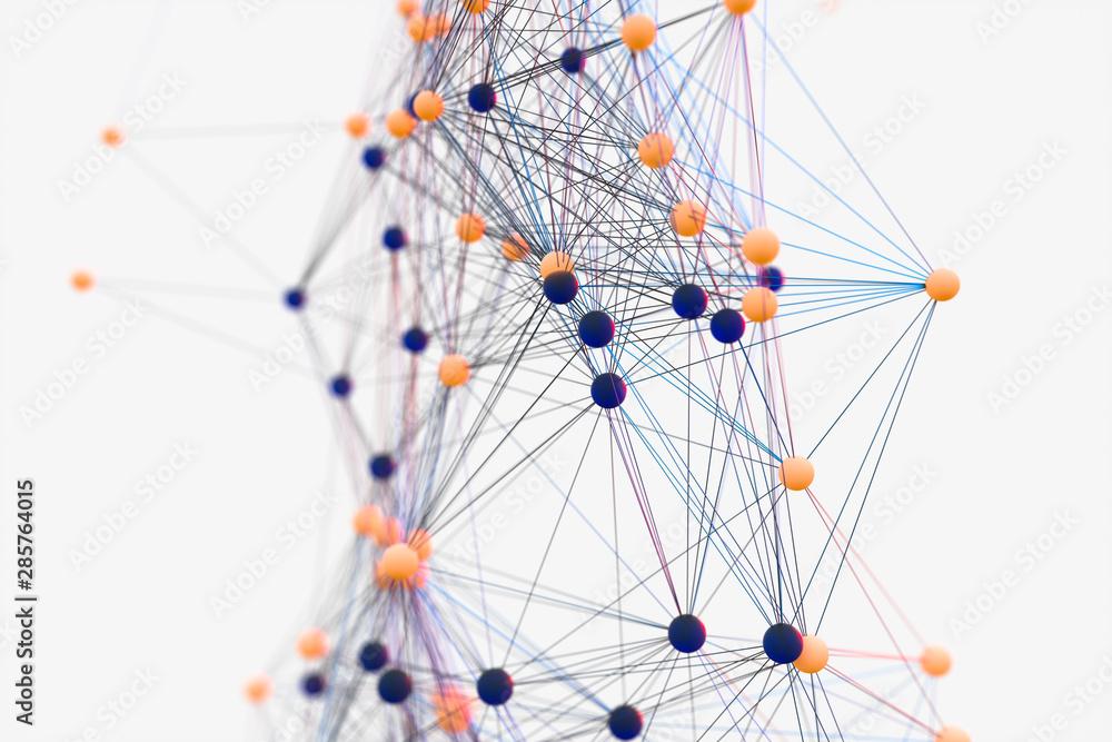 Gene lines and nodes, biological gene structure, 3d rendering.