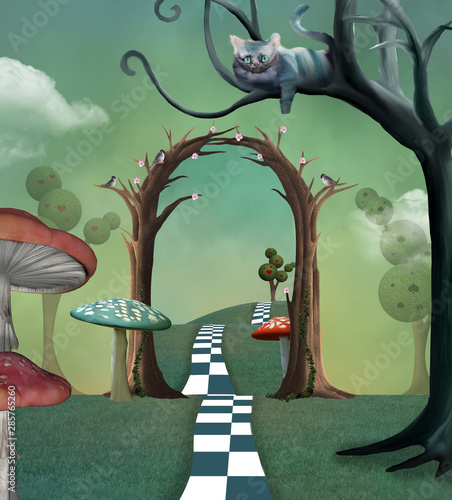 Obraz na plátně Wonderland series - Surreal countryside view with a secret  passage and cheshire