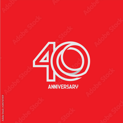 40 Years Anniversary Celebration Your Company Vector Template Design Illustration Fotomurales