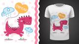 Fototapeta Dinusie - Cute dino - idea for print t-shirt.