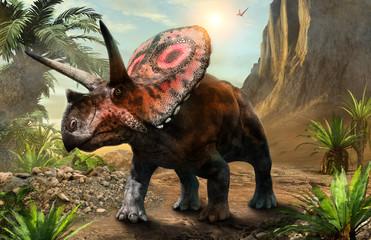 Torosaurus from the Cretaceous era 3D illustration