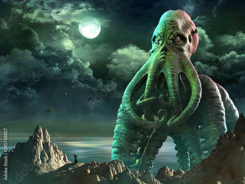 Photo Tentacled horror scene 3D illustration