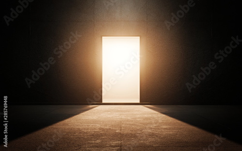 Photo Light door in dark room. 3d render
