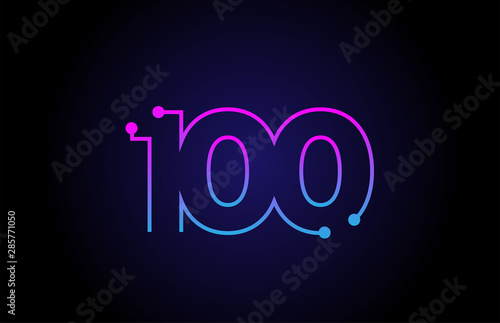Cuadros en Lienzo Number 100 logo icon design in pink blue colors