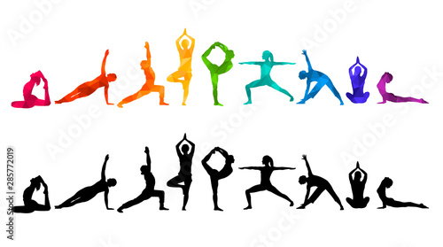 Obraz Detailed colorful silhouette yoga vector illustration. Fitness Concept. Gymnastics. Aerobics. - fototapety do salonu