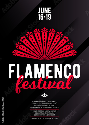 Fotografie, Obraz  Vertical flamenco template with dark background, red fan and text