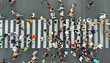canvas print picture - Aerial. People crowd on pedestrian crosswalk. Top view background.