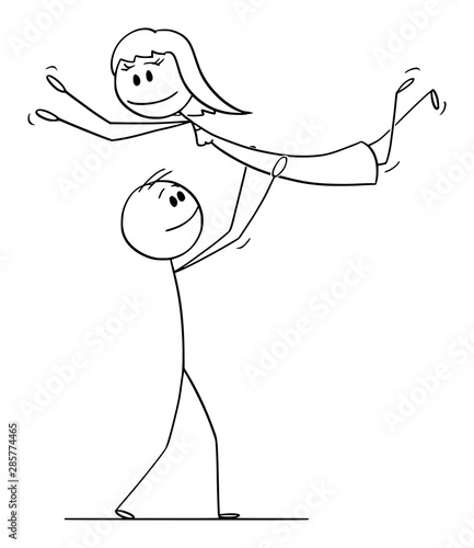 Fototapety, obrazy: Vector cartoon stick figure drawing conceptual illustration of heterosexual couple of man and woman performing dance pose lift during dancing.