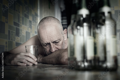 A desperate man falls into depression and becomes alcoholic and miserable Wallpaper Mural