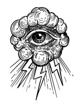 Sketch Of Providence Eye. Hand Drawn Vector Outline With Transparent Background