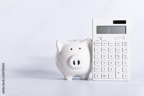 Fototapeta 電卓とブタのの貯金箱 obraz
