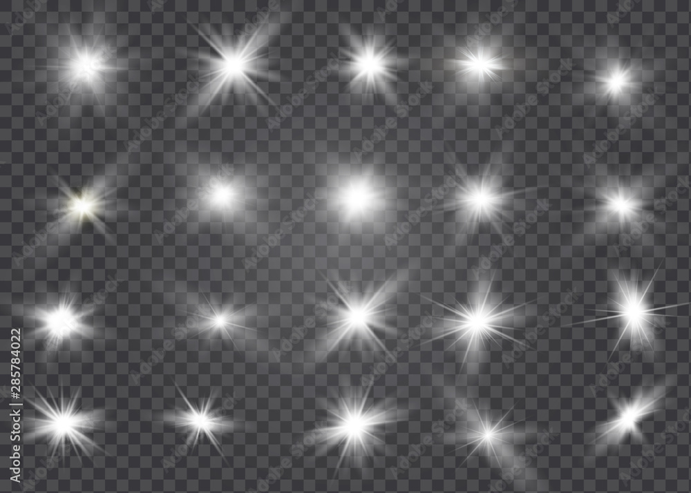 Fototapety, obrazy: White glowing light explodes on a transparent background. Sparkling magical dust particles. Bright Star. Transparent shining sun, bright flash. Vector sparkles. To center a bright flash.