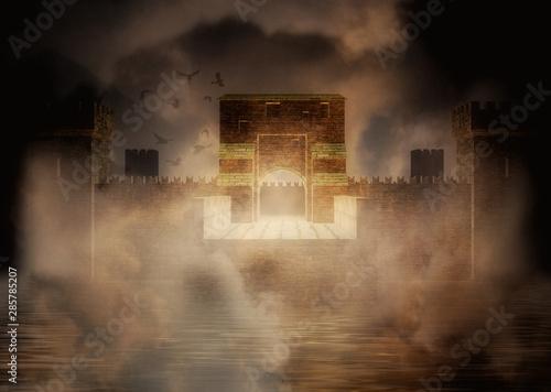 Fotografia, Obraz Medieval fortress in the fog