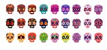 Decorative Colorful Skulls Set...