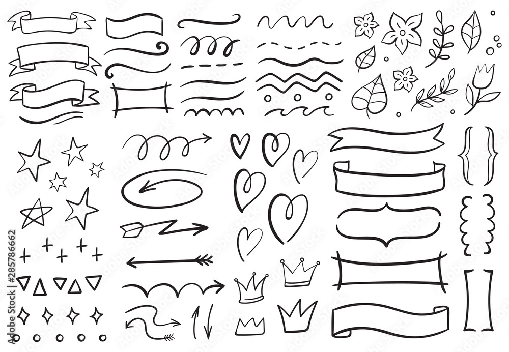 Fototapeta Vintage decorative doodles. Hand drawn ribbon, outline arrows and doodle holidays cards decorations. Flower, heart, star and curved lines black ink ornate. Isolated vector symbols set