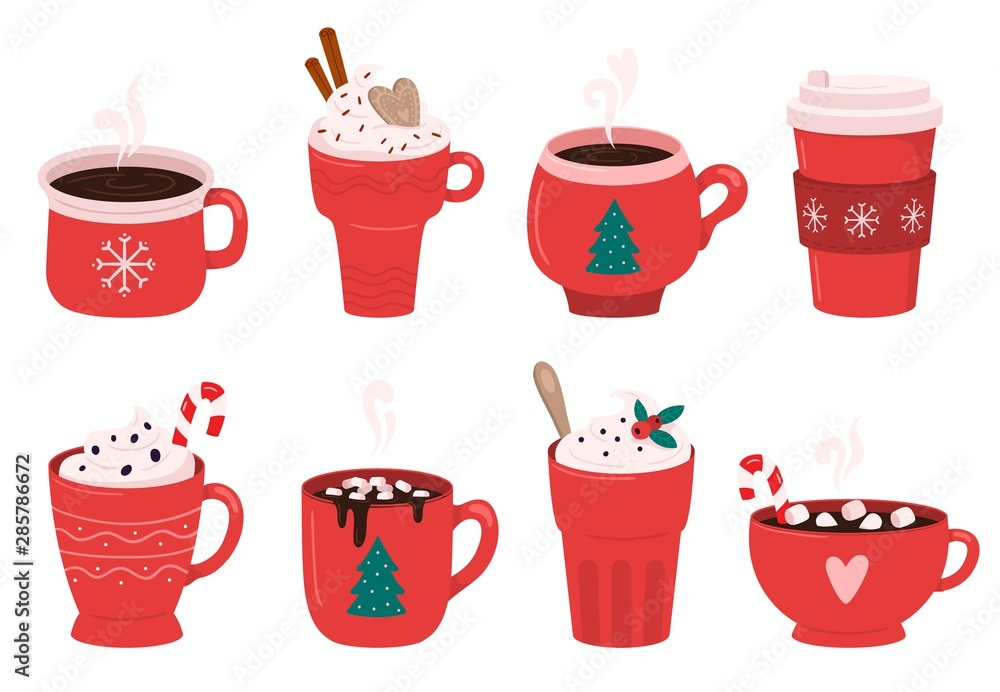 Fototapeta Christmas holiday coffee mug. Cocoa with marshmallows, winter warming drinks and hot espresso cup. Xmas hot chocolate mugs or winter cappuccino and latte cups. Isolated vector illustration icons set