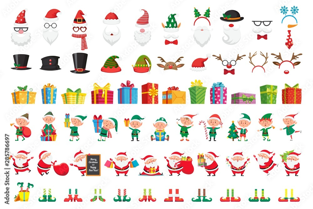 Fototapeta Cartoon Christmas collection. Xmas hats and New Year gifts. Santa Claus and elves helpers characters. Santas character mask, gift box, elfs legs and reindeer hat. Isolated vector icons set