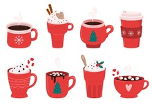 Christmas Holiday Coffee Mug. Cocoa With Marshmallows, Winter Warming Drinks And Hot Espresso Cup. Xmas Hot Chocolate Mugs Or Winter Cappuccino And Latte Cups. Isolated Vector Illustration Icons Set