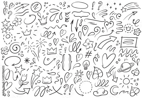 Obraz Decorative hand drawn shapes. Outline crown, doodle pointer and heart frame. Doodles lines elements, ink line arrow and flower calligraphy sign sketch. Isolated vector illustration symbols set - fototapety do salonu